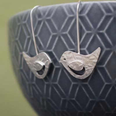 robin bird earrings nature jewellery