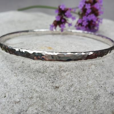 forged silver bangle bracelet