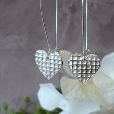 waffle heart earrings valentine romance