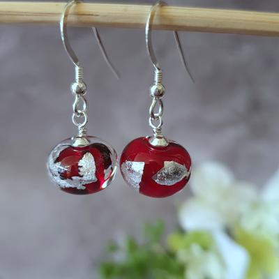 ruby red lampwork glass bead