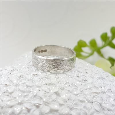 leaf textured silver band ring